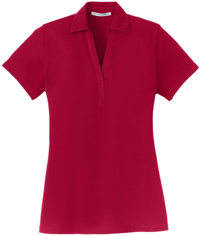 Port Authority-Ladies Silk Touch Y-Neck Polo-XS-Red-Thread Logic