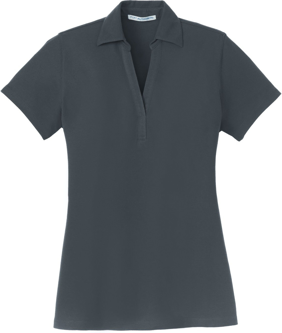 Port Authority-Ladies Silk Touch Y-Neck Polo-XS-Steel Grey-Thread Logic