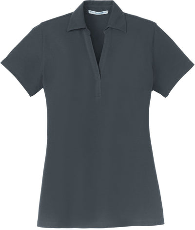 Steel Grey Ladies Silk Touch Y-Neck Polo