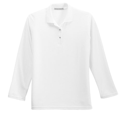Port Authority-Ladies Long Sleeve Silk Touch Polo Shirt-XS-White-Thread Logic