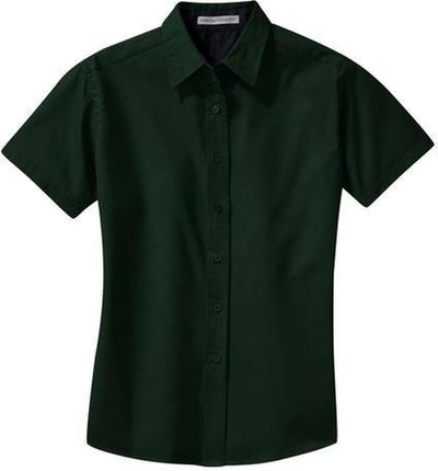 Port Authority-Ladies Short Sleeve Easy Care Dress Shirt-XS-Dark Green/Navy-Thread Logic