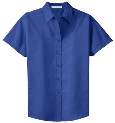 Port Authority-Ladies Short Sleeve Easy Care Dress Shirt-XS-Royal/Classic Navy-Thread Logic