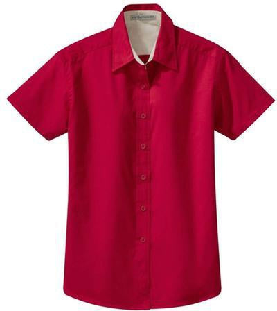 Port Authority-Ladies Short Sleeve Easy Care Dress Shirt-XS-Red/Light Stone-Thread Logic