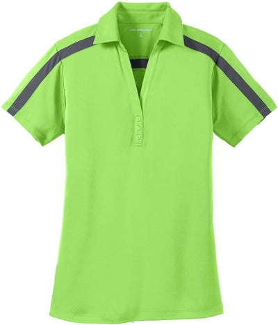 Port Authority-Ladies Silk Touch Performance Colorblock Stripe-XS-Lime/Steel Grey-Thread Logic