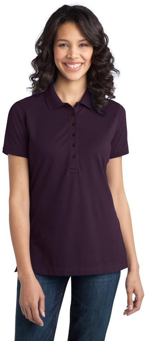 Port Authority-Ladies Stretch Pique Polo-XS-Aubergine Purple-Thread Logic