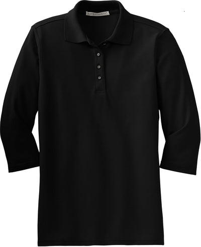 Port Authority-Ladies Silk Touch 3/4 Sleeve Polo-XS-Black-Thread Logic