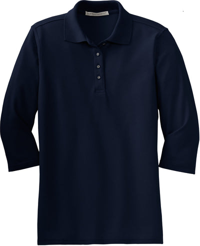 Port Authority-Ladies Silk Touch 3/4 Sleeve Polo-XS-Navy-Thread Logic