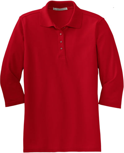 Port Authority-Ladies Silk Touch 3/4 Sleeve Polo-XS-Red-Thread Logic