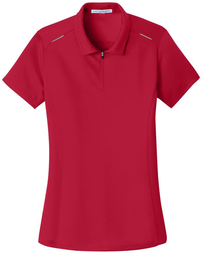 Port Authority-Ladies Pinpoint Mesh Zip Polo-XS-Rich Red-Thread Logic