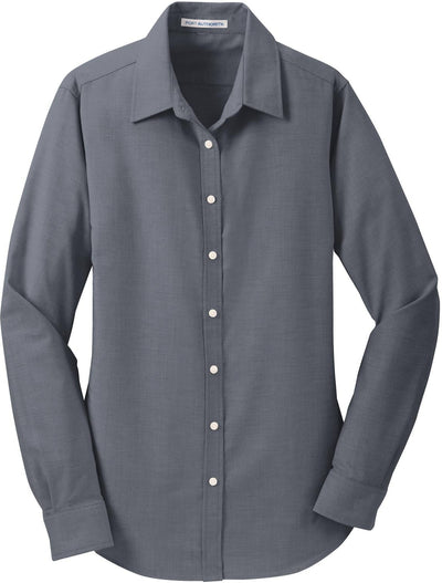 Port Authority-Ladies SuperPro Oxford Shirt-XS-Black-Thread Logic