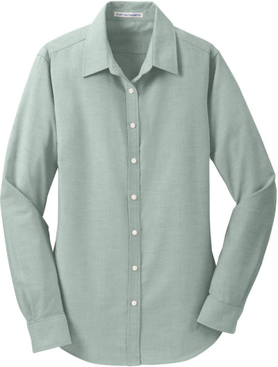 Port Authority-Ladies SuperPro Oxford Shirt-XS-Green-Thread Logic