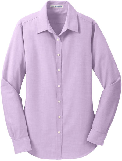 Port Authority-Ladies SuperPro Oxford Shirt-XS-Soft Purple-Thread Logic