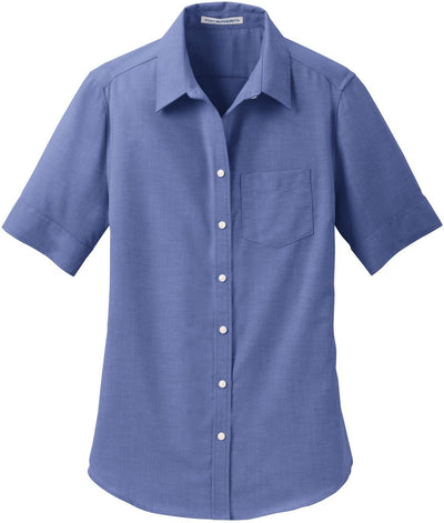 Port Authority-Ladies Short Sleeve SuperPro Oxford Shirt-S-Navy-Thread Logic
