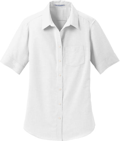 Port Authority-Ladies Short Sleeve SuperPro Oxford Shirt-S-White-Thread Logic