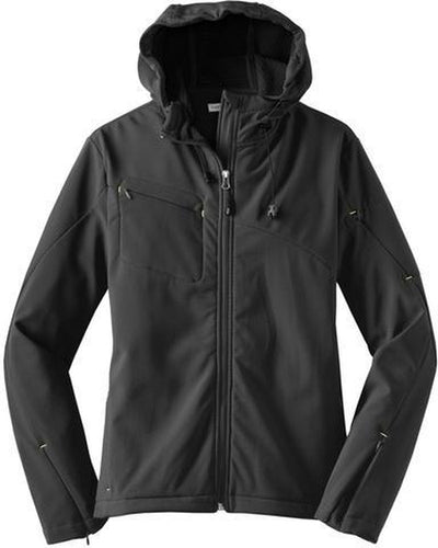Port Authority-Ladies Textured Hooded Soft Shell-XS-Charcoal-Thread Logic
