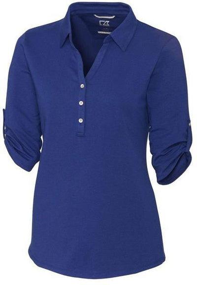 Cutter&Buck Ladies' E/S Thrive Polo-XS-Tour Blue-Thread Logic