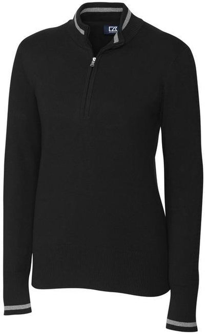 Cutter&Buck Ladies Lakemont Tipped Half Zip-XS-Black-Thread Logic