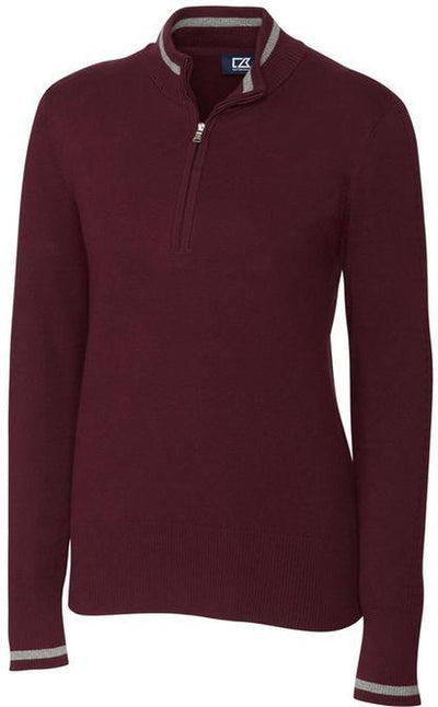 Cutter&Buck Ladies Lakemont Tipped Half Zip-XS-Bordeaux-Thread Logic