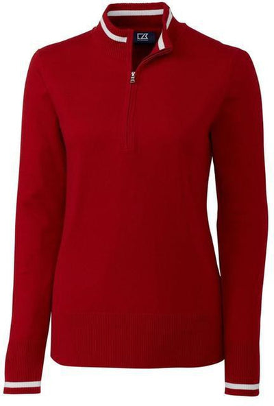 Cutter&Buck Ladies Lakemont Tipped Half Zip-XS-Cardinal Red-Thread Logic
