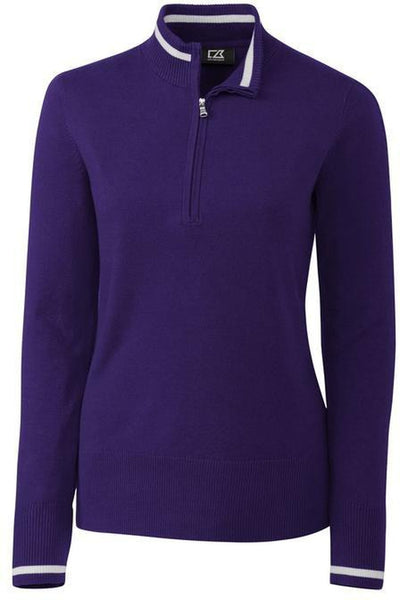 Cutter&Buck Ladies Lakemont Tipped Half Zip-XS-College Purple-Thread Logic