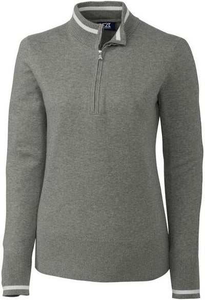 Cutter&Buck Ladies Lakemont Tipped Half Zip-XS-Grey Heather-Thread Logic