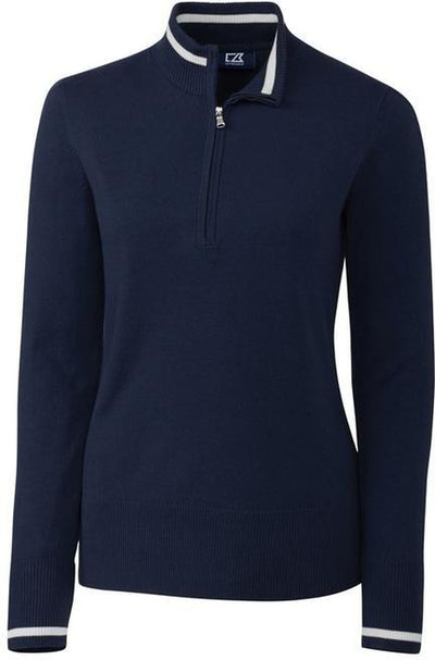 Cutter&Buck Ladies Lakemont Tipped Half Zip-XS-Liberty Navy-Thread Logic