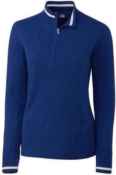 Cutter&Buck Ladies Lakemont Tipped Half Zip-XS-Tour Blue-Thread Logic