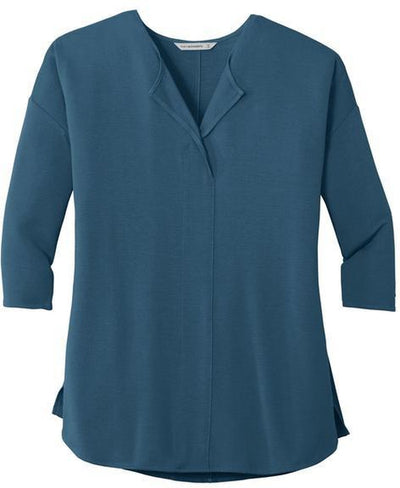 Port Authority-Ladies Concept 3/4-Sleeve Soft Split Neck Top-XS-Dusty Blue-Thread Logic