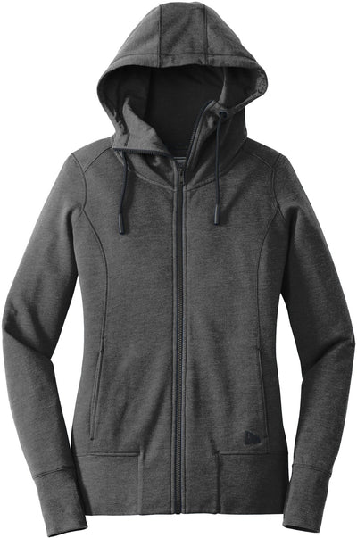 New Era Ladies Tri-Blend Fleece Full-Zip Hoodie-XS-Black Heather-Thread Logic