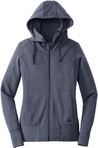 New Era Ladies Tri-Blend Fleece Full-Zip Hoodie-XS-True Navy Heather-Thread Logic