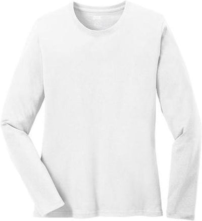 Port & Company-Ladies Long Sleeve Cotton T-Shirt-XS-White-Thread Logic