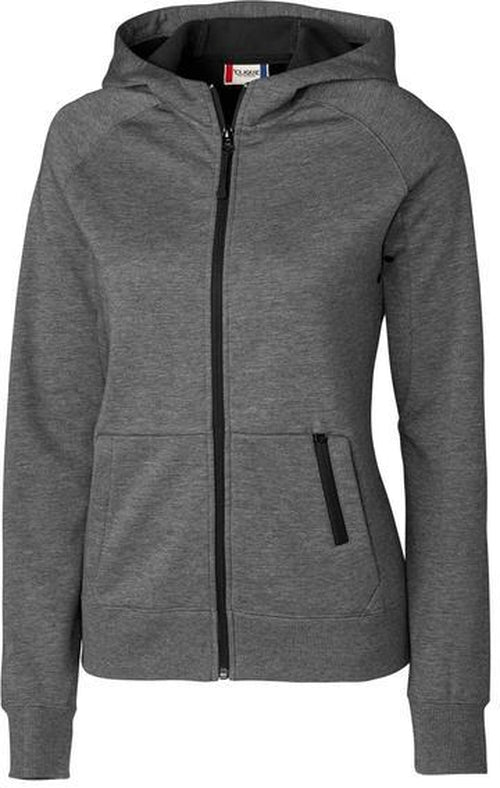 Clique Ladies Lund Fleece Zip Hoodie-XS-Charcoal-Thread Logic