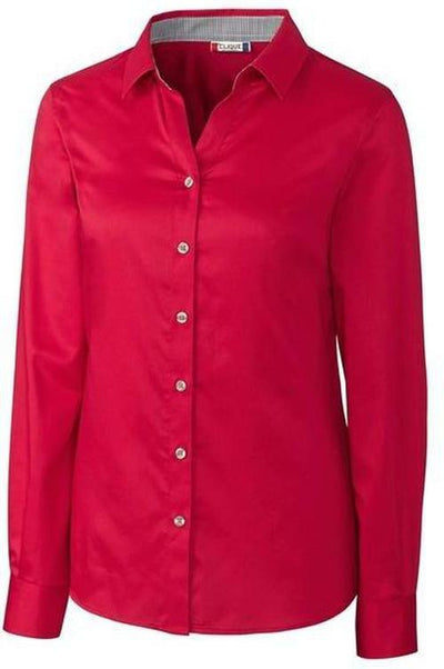Clique Ladies Halden Stain Resistant L/S-XS-Deep Red-Thread Logic