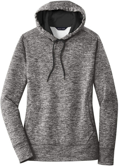 Sport Tek-Ladies PosiCharge Electric Heather Fleece Hooded Pullover-XS-Black Electric-Thread Logic