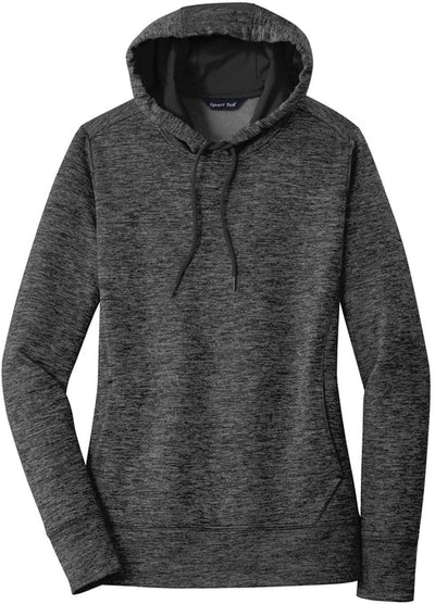 Sport Tek-Ladies PosiCharge Electric Heather Fleece Hooded Pullover-XS-Grey/Black Electric-Thread Logic