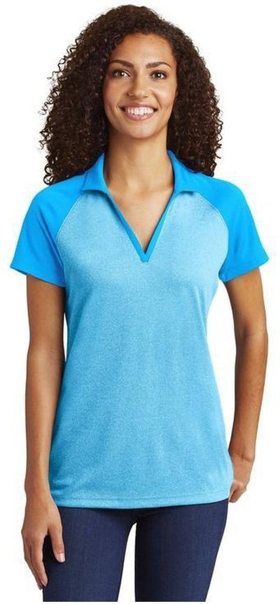 Sport Tek-Ladies Raglan Heather Block Polo-Thread Logic no-logo