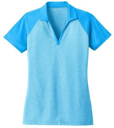 Sport Tek-Ladies Raglan Heather Block Polo-XS-Pond Blue Heather/ Pond Blue-Thread Logic