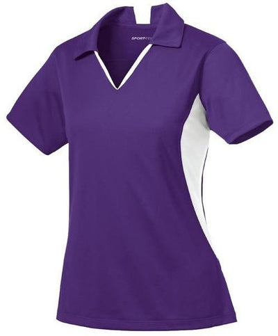 Sport Tek-Ladies Side Blocked Micropique Polo-XS-Purple/White-Thread Logic