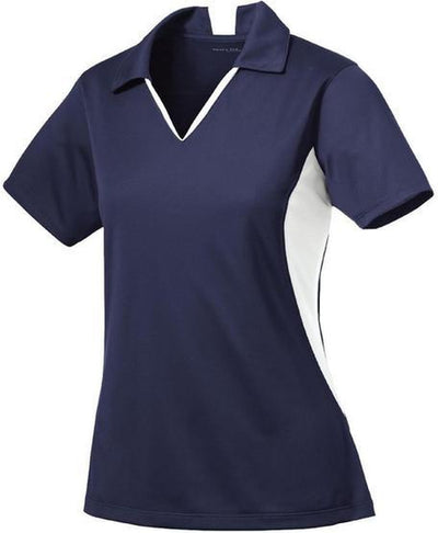 Sport Tek-Ladies Side Blocked Micropique Polo-XS-Navy/White-Thread Logic