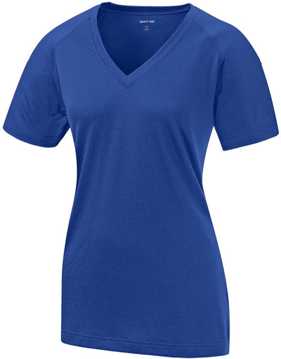 Sport Tek-Ladies Ultimate Performance V-Neck-XS-Royal-Thread Logic