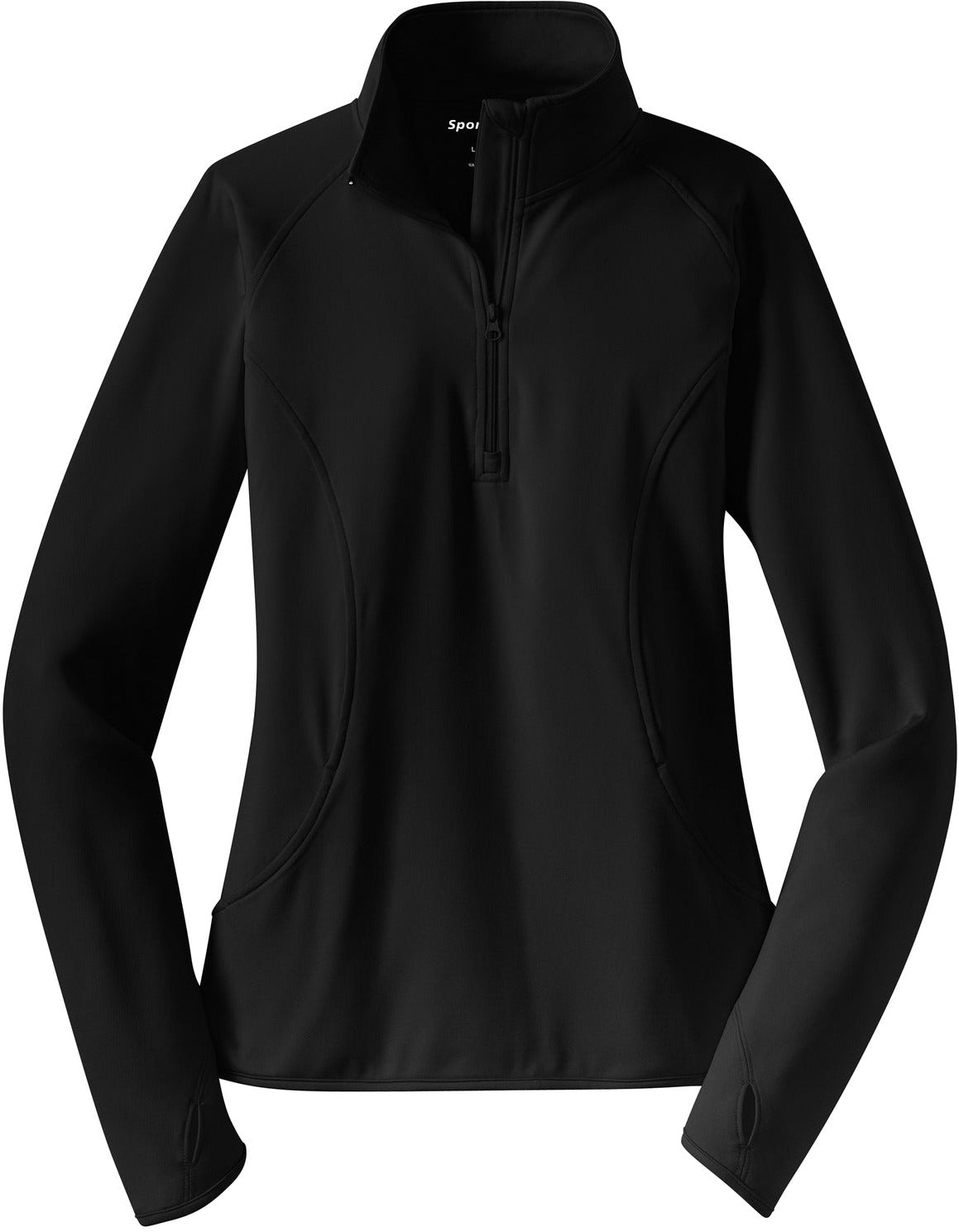 Sport Tek-Ladies Sport-Wick Stretch 1/2-Zip-XS-Black-Thread Logic