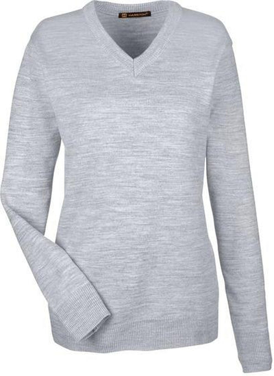 Harriton-Ladies Pilbloc V-Neck Sweater-XS-Grey Heather-Thread Logic