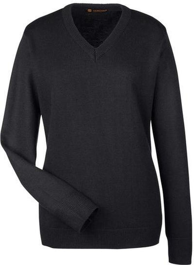 Harriton-Ladies Pilbloc V-Neck Sweater-XS-Black-Thread Logic
