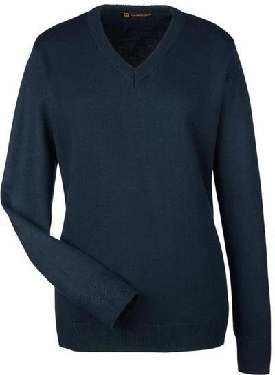 Harriton-Ladies Pilbloc V-Neck Sweater-XS-Dark Navy-Thread Logic