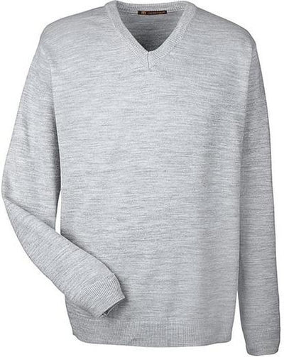 Harriton-Pilbloc V-Neck Sweater-S-Grey Heather-Thread Logic