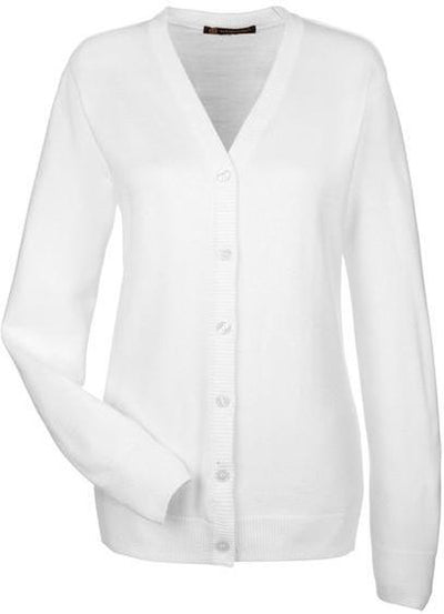 Harriton-Ladies Pilbloc V-Neck Button Cardigan Sweater-M425W-XS-White-Thread Logic