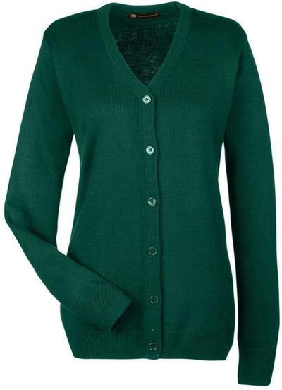 Harriton-Ladies Pilbloc V-Neck Button Cardigan Sweater-M425W-XS-Hunter-Thread Logic