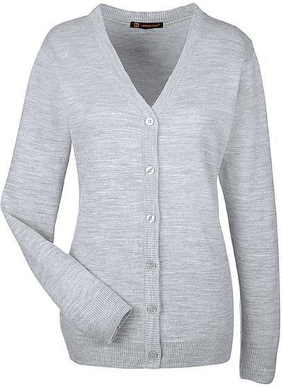Harriton-Ladies Pilbloc V-Neck Button Cardigan Sweater-M425W-XS-Grey Heather-Thread Logic