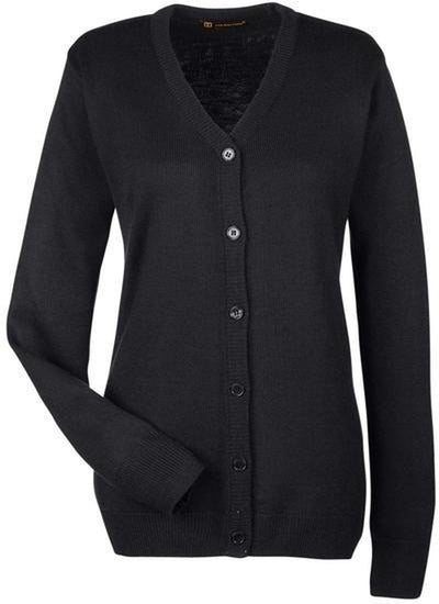 Harriton-Ladies Pilbloc V-Neck Button Cardigan Sweater-M425W-XS-Black-Thread Logic