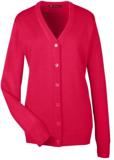 Harriton-Ladies Pilbloc V-Neck Button Cardigan Sweater-M425W-XS-Red-Thread Logic